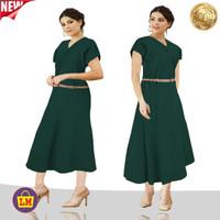 LM 14439 Dress Wanita Dress JUMBO Tali Pinggang NEW DRESS TERMURAH - Hijau Botol