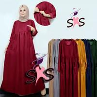 Gamis Santai Busui BusanaMuslim Baju Muslimah Long Dress Muslim Wanita