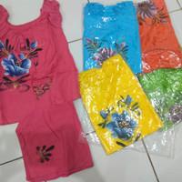 size M sovenir khas bali baju balon lukis bunga setelan anak perempuan
