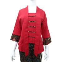 Kebaya Kutu Baru Balotelli Modern Wanita Warna Merah Polos