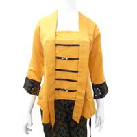 Kebaya Kutu Baru Balotelli Modern Wanita Warna Kuning Polos