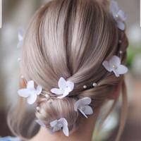 Hiasan Rambut Aksesoris Sanggul Bunga Pesta Pengantin Wedding B43