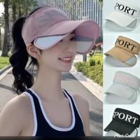 Topi wanita sport banyak warna, barang import - coklat muda