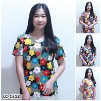 Kaos Oblong Wanita Baju Murah Atasan Motif Bunga Bunga Melar LC 1512