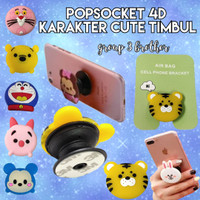 PopSocket Silicon 4D Lucu Karakter Cute Timbul Folding Phone Bracket