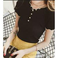 S1 Kaos Neci Button Rajut Baju Fashion Wanita Premium Atasan Cewek