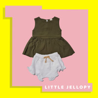 setelan baju bayi perempuan import 0-12 bulan baju pergi bayi cewek