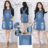 Baju Rok Kodok Overall Jumpsuit Dress Pendek Jeans Rip Sobek S M L XL