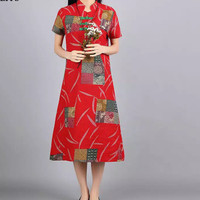Dress Model Cheongsam Gaya Retro Ada Ukuran Besar Untuk Wanita