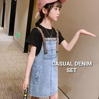 BAJUKIDDIE CASUAL DENIM SET baju setelan jeans anak perempuan korea