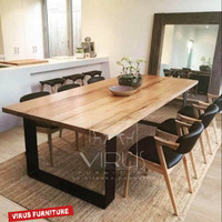 Meja makan minimalis kayu jati dining set living room