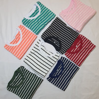 Kaos Pria Striple Salur Soft Katun Belang Garis Baju Cwo Lengan Pendek
