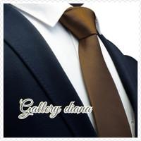 Dasi Panjang Pria Polyester Nick Tie Men Women Tie Coklat