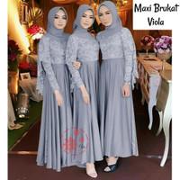 WNX - Maxi Viola Gamis Fashion Wanita Brukat - Abu-abu