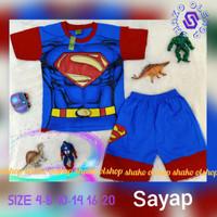 SHAKO Baju Kaos Stelan Karakter SUPERMAN pakai Sayap Pakaian Anak Laki