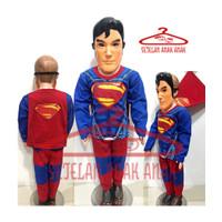 KOSTUM ANAK LAKI KARAKTER SUPERMAN DENGAN SAYAP DAN TOPENG 1 SET - 1 TH