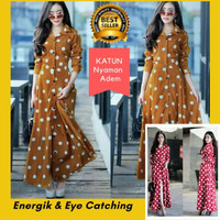 Baju Wanita Long Dress Maxi Atasan Tunik Panjang Katun Gamis Polka