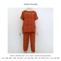 Setelan Baju Tidur Celana 3/4 Herwinda Batik Cap