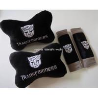 bantal mobil 2 in 1 transformers abu hitam isi bantal dan sarung sabuk
