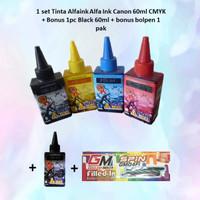 1 set Tinta Alfaink Alfa Ink Canon 60ml CMYK + Bonus 1pc blk + Bolpen