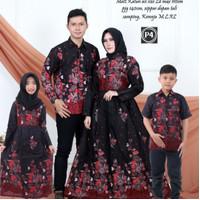 Baju dress gamis couple keluarga dan batik sarimbit anak motif bunga
