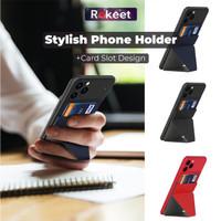 Rokeet Phone Stand Holder Universal Card Holder Leather Premium