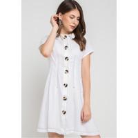 EDITION WOMEN ED77 WHITE Contrast Stitch Pleated Dress