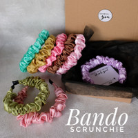 Handmade Bando kerut silk satin scrunchie headband