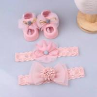 Headband Bandana Set Kaos Kaki Bayi Newborn Princess Pita Bunga SET
