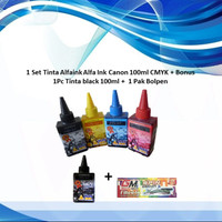 1 Set Tinta Alfaink Alfa Ink Canon 100ml CMYK + Bonus 1Pc Blk + Bolpen