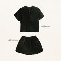 Nou - Sundae Set 02 Loungewear in Satin Silk (Top with Sleeves & Short - Charcoal