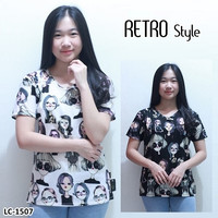 Kaos Oblong Wanita Baju Murah Atasan Motif Kartun Melar LC 1507 Retro