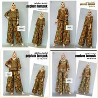 Setelan Kulot Set Peplum Tumpuk Sogan Batik Cantik Etnik Baju Pergi