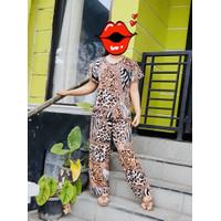 Piyama Wanita motif Animal Leopard / macan / setelan baju tidur wanita