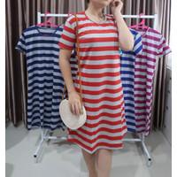 Dress Wanita dewasa / dress Aileen / dress salur spandek - Merah, L