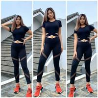 Setelan baju senam / legging tile 7/8 crop silang - Hitam