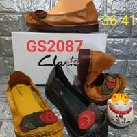 flatshoes Clarks peacook GS2087 kulit