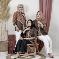 Baju Batik Wanita Blouse Fashion Seragam Kerja Sogan