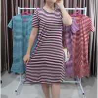 dress wanita dewasa / dress NADINE / Dress salur - hijau tosca, L