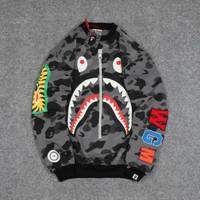 jaket pria sweater crewneck Bape Bathing Ape Sta Shark Camo -grey