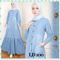 Baju Gamis Wanita Jeans Denim Maxi Long Dress Muslim Kancing Rempel