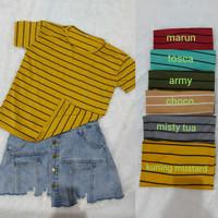 Kaos wanita Salur FANY / baju atasan wanita salur lengan pendek - MARON, L