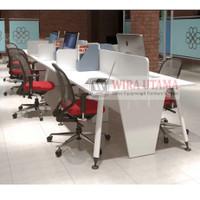 Meja Kerja 8 Staff Kantor Partisi Sekat Cubicle Workstation Putih