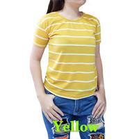 Kaos wanita salur ALINE / baju atasan salur - Kuning, L