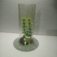 Botol tabung botol cupang botol kaca aquarium mini plus bunga dan batu