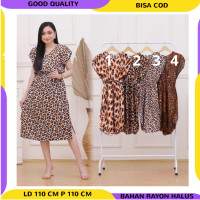 PROMO MOTIF ACAK - Daster Busui Dress Loreng Leopard Baju Tidur Wanita