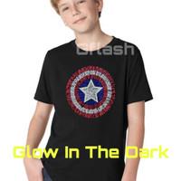 Baju Kaos Tshirt Anak Cowok Captain America Glow In The Dark RSG001
