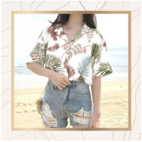 Kemeja Pantai Wanita Tropical Shirt Motif Daun Casual Impor China Mura