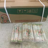 Sumpit Bambu ION Bungkus Plastik + Tusuk Gigi 1 dus isi 50 pak