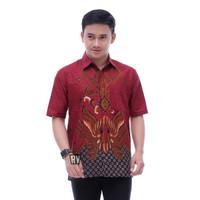 Baju Hem Batik Pria Lengan Pendek Kemeja Ayah Batik Kantor Pria Jumbo
